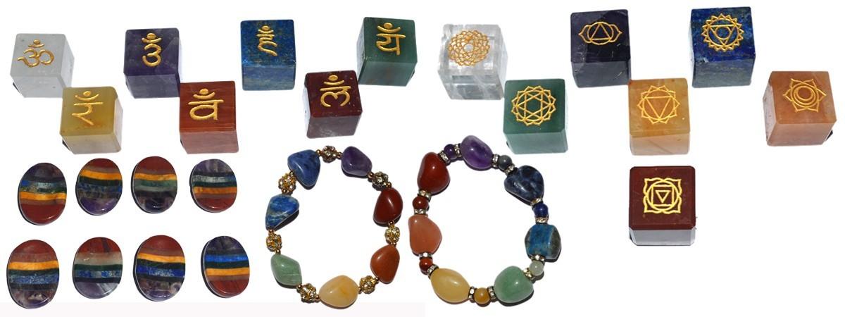 Seven Chakra Balancing Chakra Set : Healing Crystals 7 Chakra Set : Engraved Seven Chakra Set. Buy From Gemstone Export low prices with high quality gemstones.
