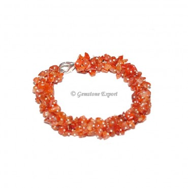 Carnelian Chips Stone Bracelet