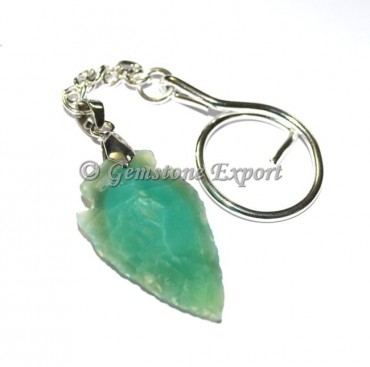 Green Color Agate Arrowheads Keyring