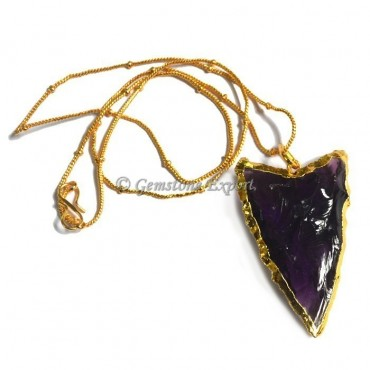 Amethyst Glass Arrowheads Necklace