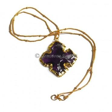 Amethyst Cross Arrowheads Necklace