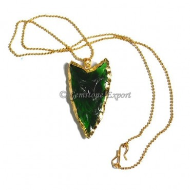Green Glass Clovis Arrowheads Necklace