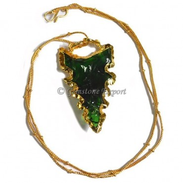 Kirk Green Glass Arrowheads Necklace