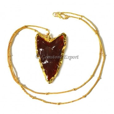 Red Glass Arrowheads Necklace