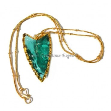Aqua Glass Arrowheads Necklace