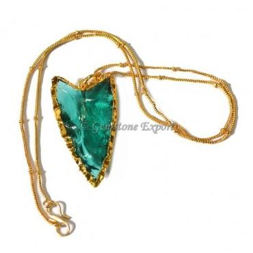Aqua Glass Arrowheads Necklace