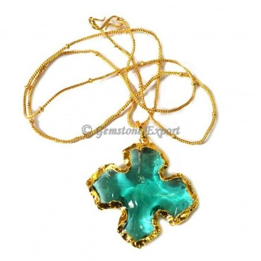 Flower Aqua Glass Arrowheads Necklace