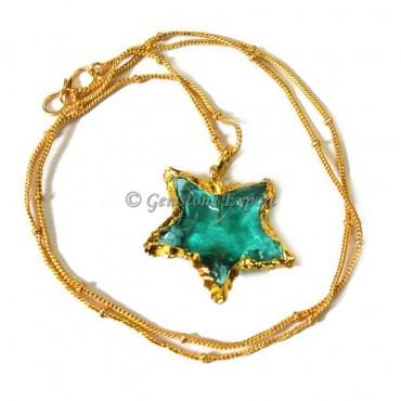 Star Aqua Glass Arrowheads Necklace