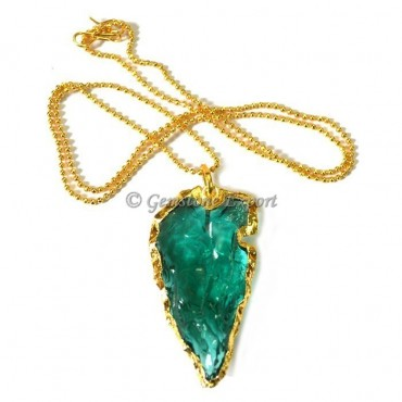 Clovis Aqua Glass Arrowheads Necklace