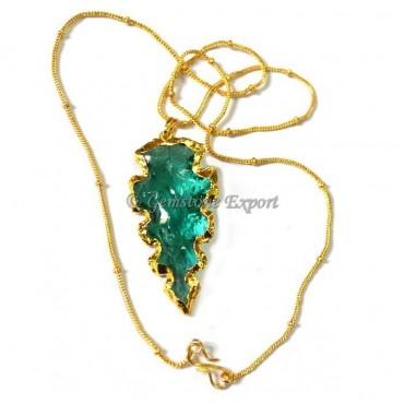 Edges Aqua Glass Arrowheads Necklace
