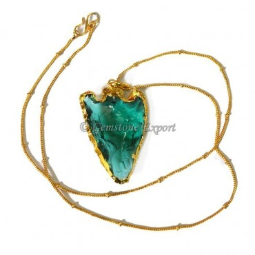 Green Aqua Heart Shape Glass Arrowheads Necklace