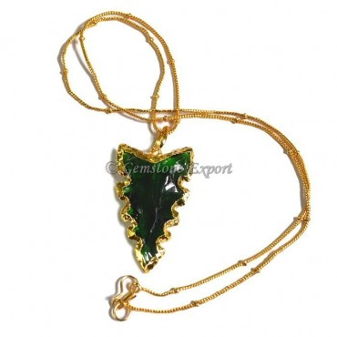 Dark Green Edges Arrowheads Necklace