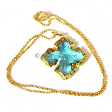 Sky-blue Curved Arrowheads Necklace