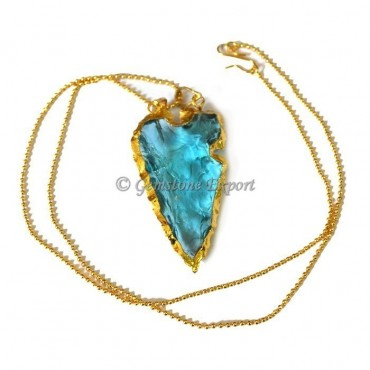Sky-blue Heart Cut Arrowheads Necklace