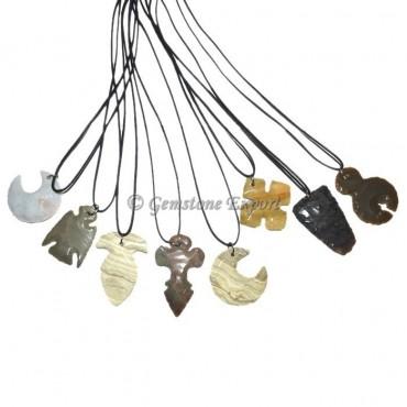 Mix Design Arrowheads Polished Necklace
