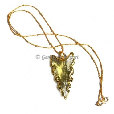 Yellow Curved Arrowheads Necklace