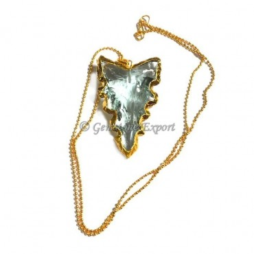 Curved Aqua Arrowheads Necklace