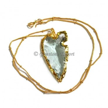 Aqua Heart Shape Cut Arrowhead Necklace