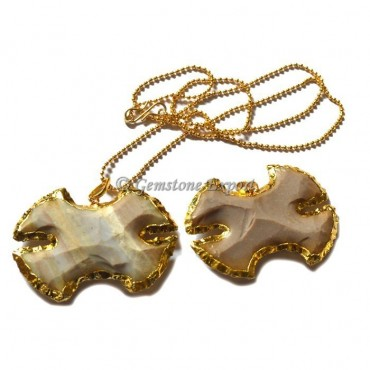 Agate Electroplated Arrowheads Necklace