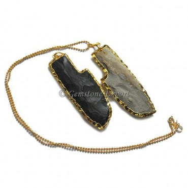 Agate Knife Electroplated Necklace