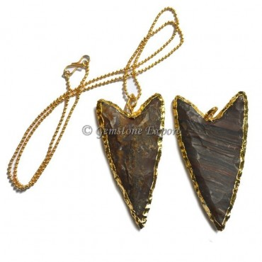 Agate  V Shape Electroplated Necklace
