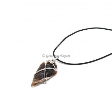 Agate Arrowhead Wire Warped Pendants