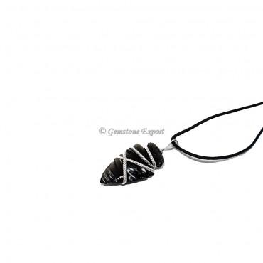 Black Obsidian Arrowhead Wire Warp Pendants