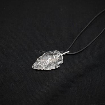 Crystal Quartz Arrowheads Wire Warped Pendants