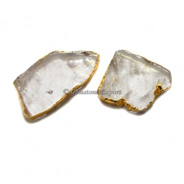 Crystal Quartz Slices With Gold Plated