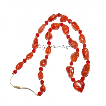 Akik Necklace With Velvet Beads