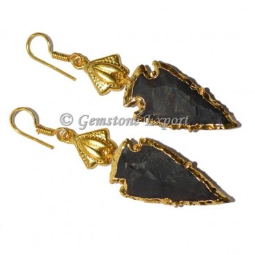 Fancy Jasper Electroplated Arrowheads Earrings