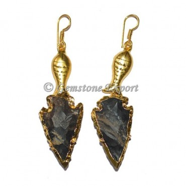 Fish Fancy Jasper Electroplated Arrowheads Earring