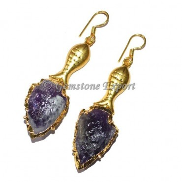 Fish Amethyst Electroplated Arrowheads Earrings