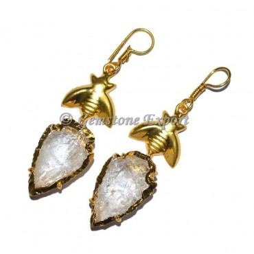 Quartz Electroplated Arrowheads Earrings