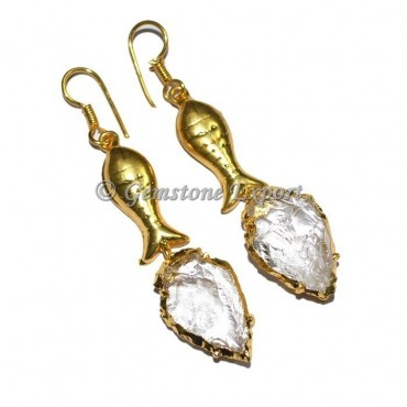 Fish Crystal Electroplated Arrowheads Earrings