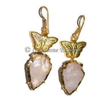 Butterfly Rose Quartz Arrowheads Earrings