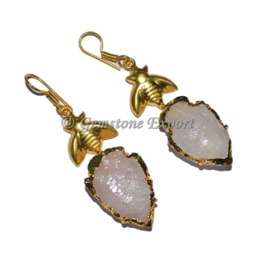 Rose Quartz Electroplated Arrowheads Earrings