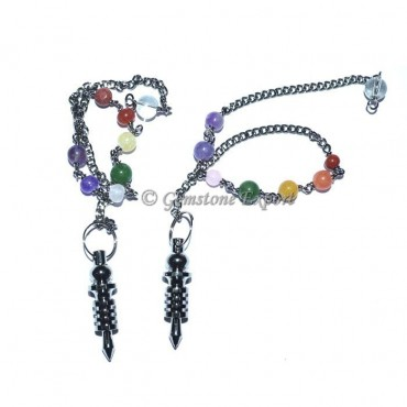 Small Isis Black Metal pendulums with Chakra Chain
