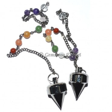 Small Bullet Black Metal Pendulums with Chakra Cha