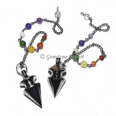 carved Black Metal Pendulums with Chakra Chain