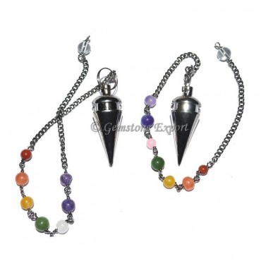 Black Metal Pendulums with Chakra Chain