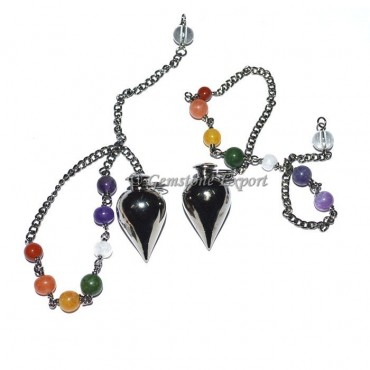 Drop Black Metal Pendulums with Chakra Chain