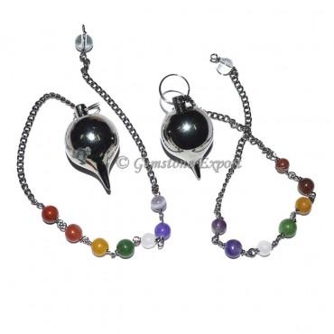 Ball Black Metal Pendulums with Chakra Chain