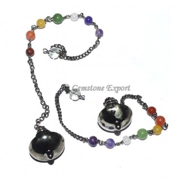 Mer-isis Black Metal Pendulums with Chakra Chain