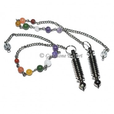 Twisted Black Metal Pendulums with Chakra chain
