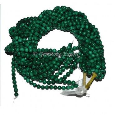 Malachite Stone Round Plane Beads