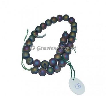 Rainbow Plated Druzy Gemstone Beads