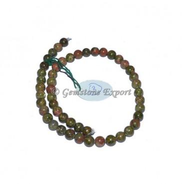 Unakite Agate Round Stone Beads