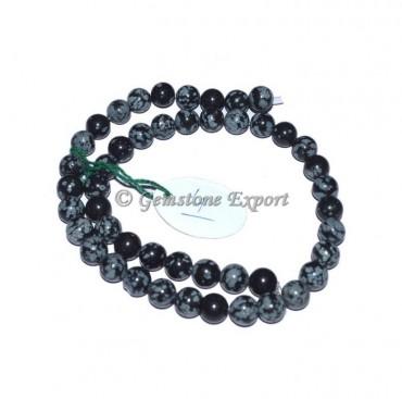 Snow flake Obsidian Stone Beads