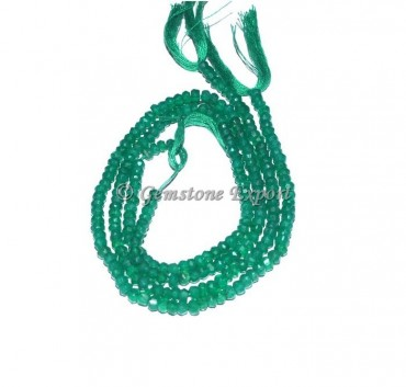 Green Onyx Faceted Rondelle Gems Beads